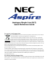 NEC Aspire Quick Reference Manual 12 pages