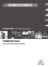 Behringer Powerlight PL2000 Quick Start Manual 9 pages