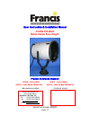 Francis FH300 User Instruction & Installation Manual 21 pages